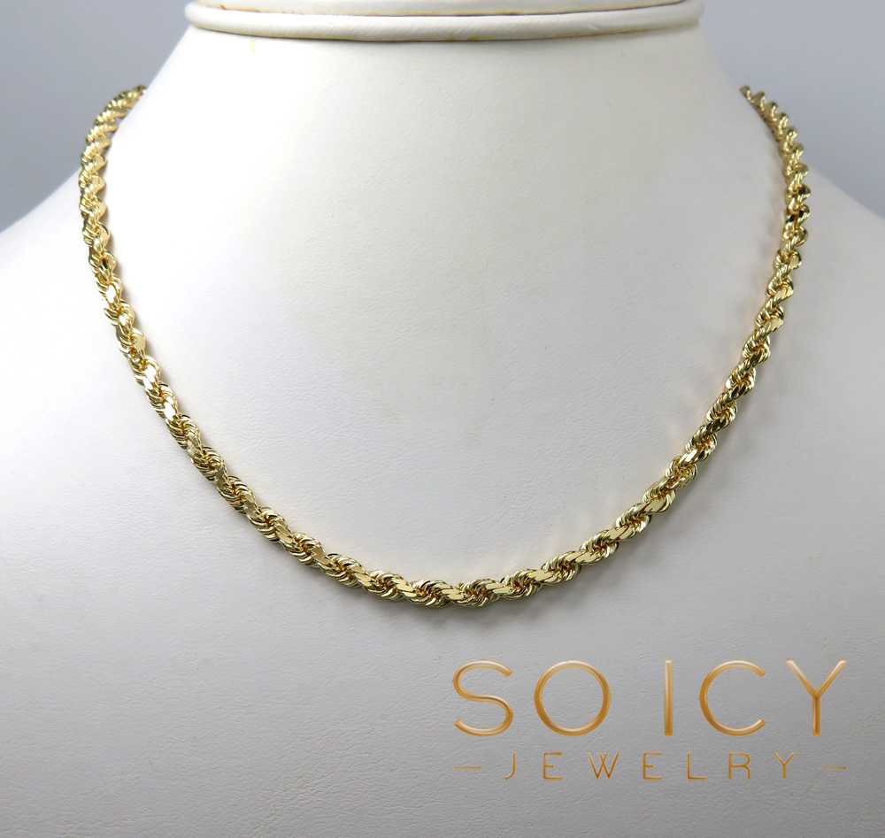 8bc9ef8074e84 14K Yellow Gold Solid Diamond Cut Rope Chain 20-30 Inch 3.50mm