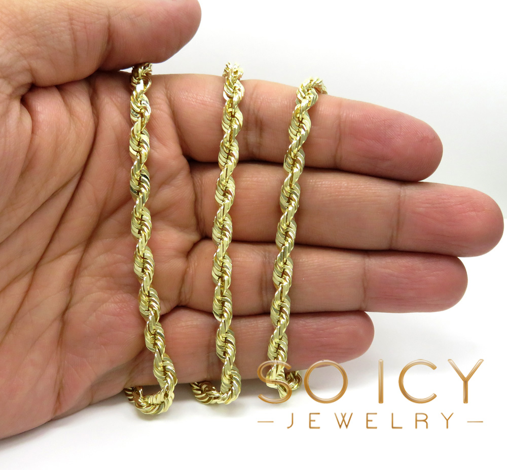 14k yellow gold solid diamond cut rope chain 22-30 inch 5mm