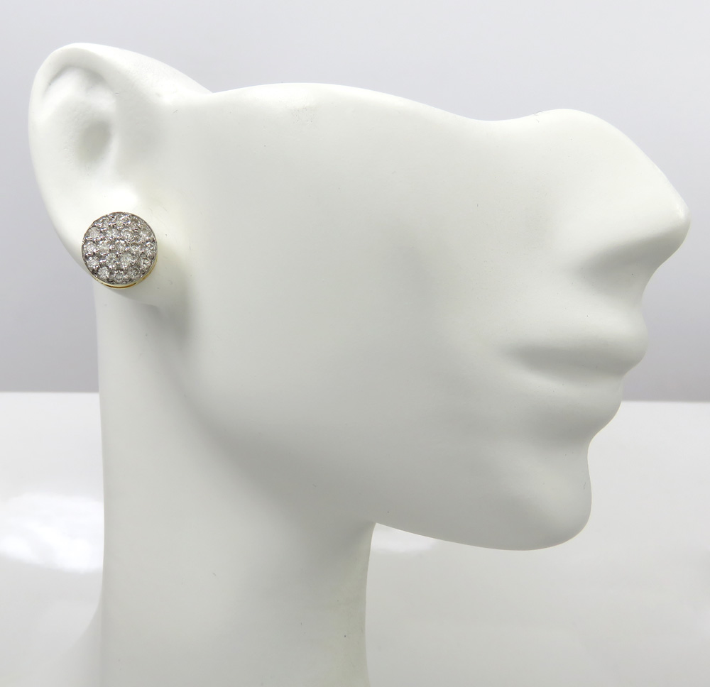 14k yellow white or rose gold diamond snow cap 9.7mm earrings 1.00ct
