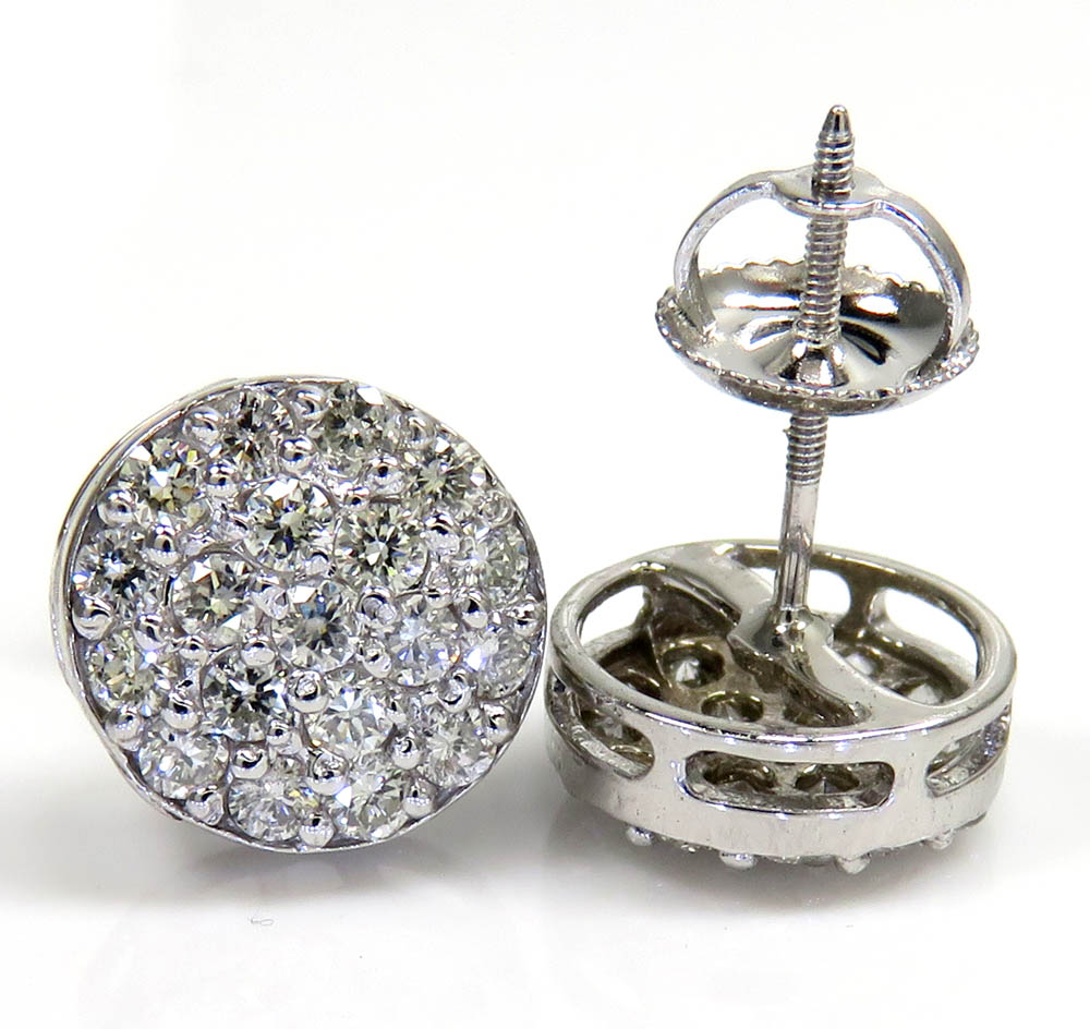 14k yellow white or rose gold diamond snow cap 9.7mm earrings 1.00ct