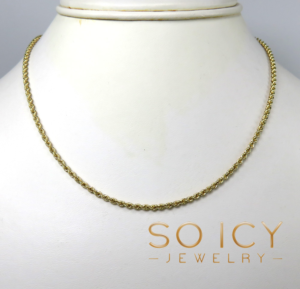 14k yellow gold skinny smooth hollow rope chain 16-26 inch 2mm