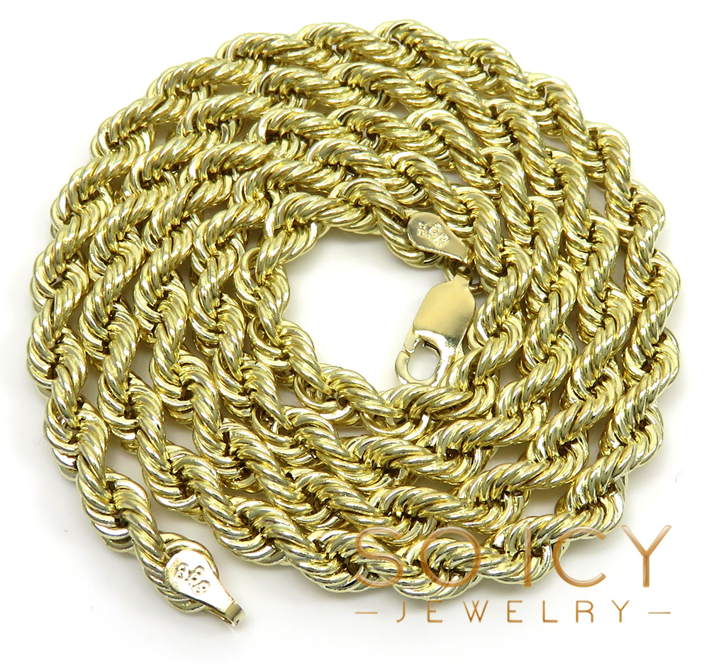 14k yellow gold hollow smooth rope chain 18-28 inch 4mm