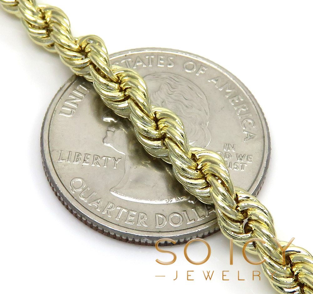 14k yellow gold hollow smooth rope chain 18-28 inch 5mm