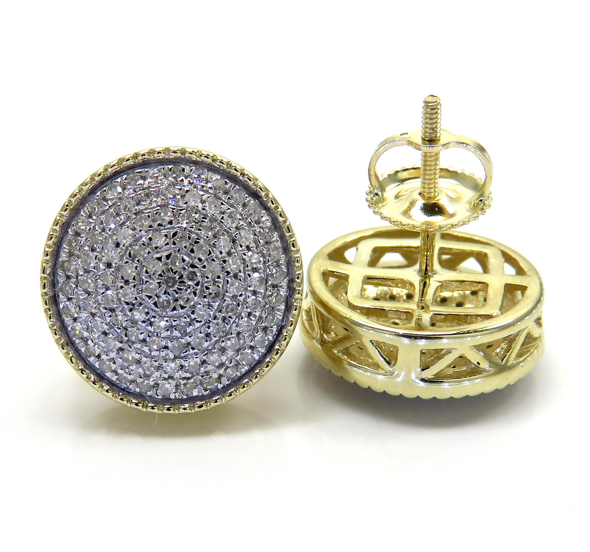 10k yellow gold xl diamond snow cap earrings 0.48ct