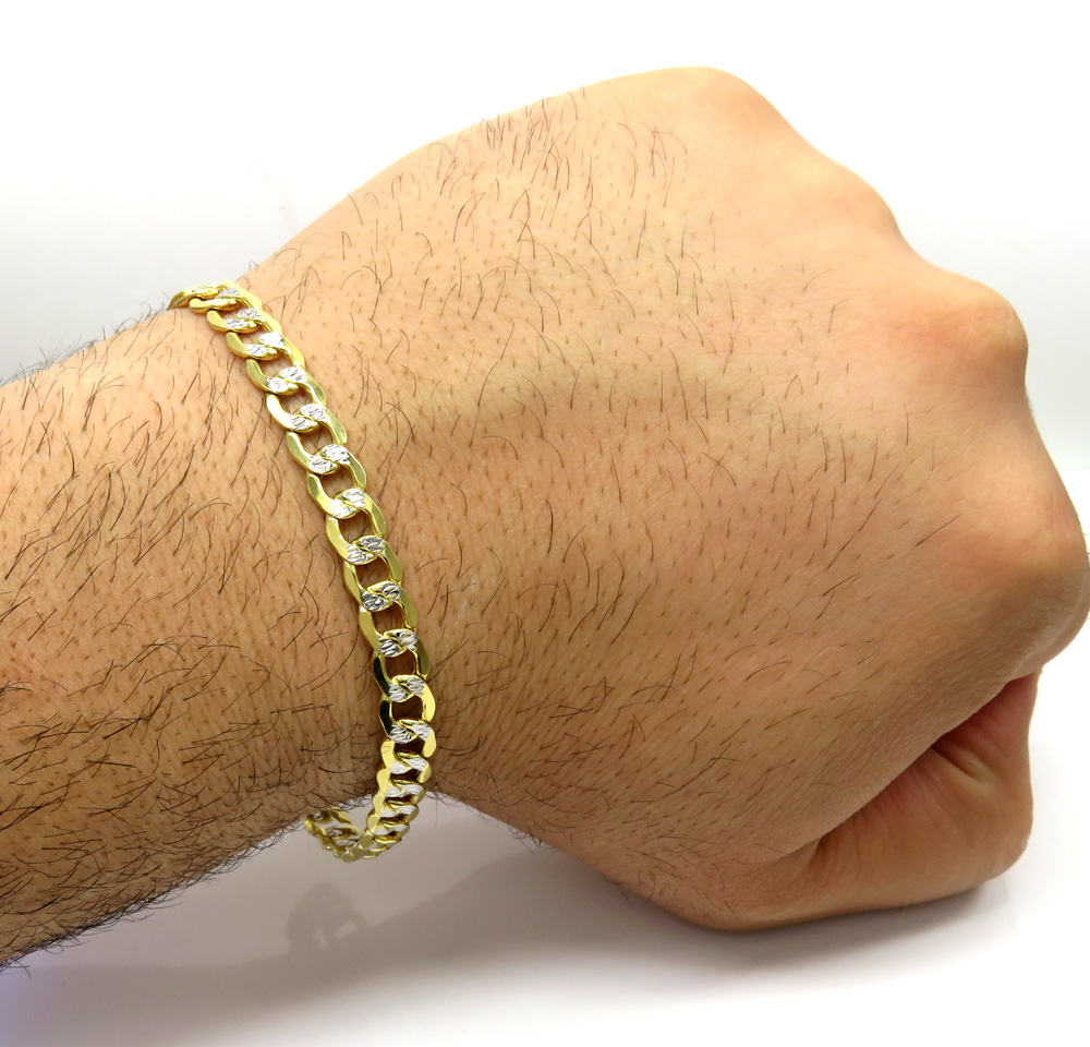 10k yellow gold diamond cut cuban bracelet 8.50