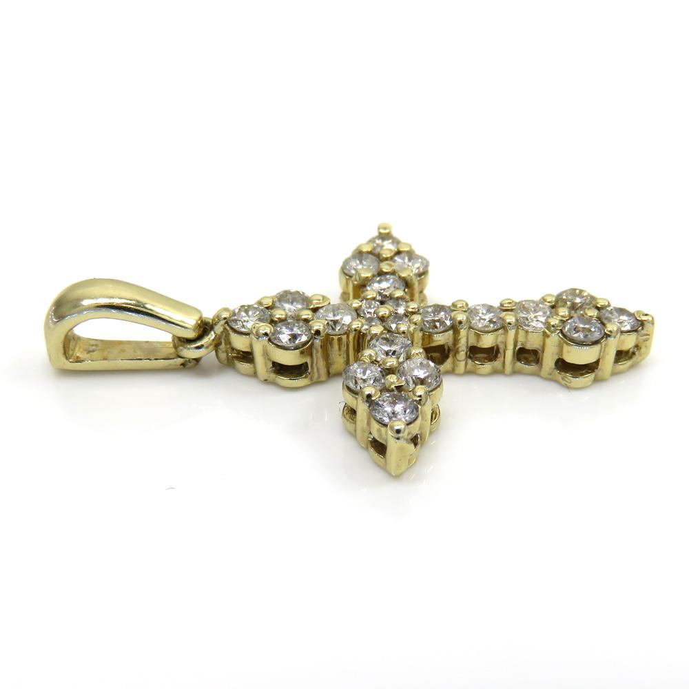 14k yellow gold mini royal diamond cross 1.00ct