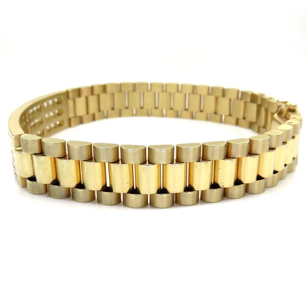 14k yellow gold 3 row diamond presidential bracelet 8.75 inches 4.00ct