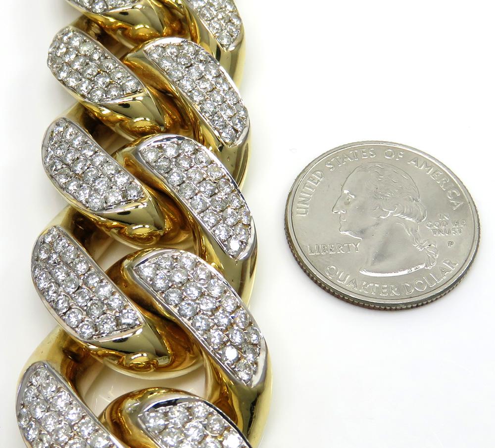 10k solid yellow gold xxl diamond miami bracelet 9.25 inch 27mm 24.23ct