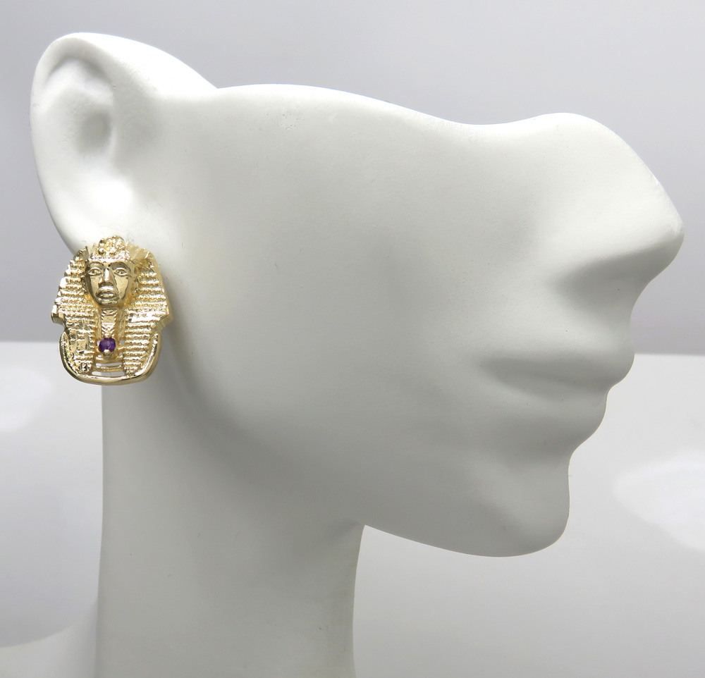 14k yellow gold amethyst king tut pharaoh earrings 0.10ct