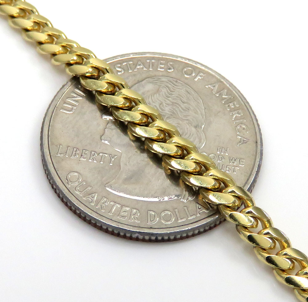 10k yellow gold solid miami cuban bracelet 8.50 inch 4mm