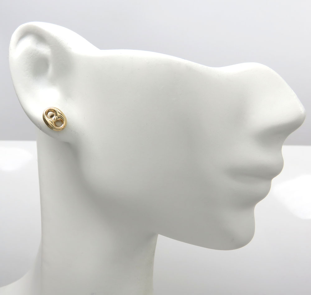 14k yellow gold single mini puffed 6mm gucci style link solid earring