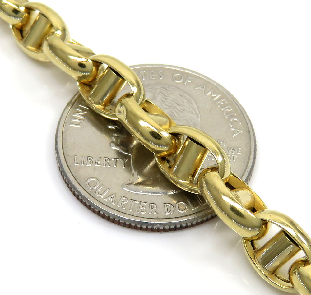 10k yellow gold hollow 3d mariner bracelet 8.75 inches 6.70mm