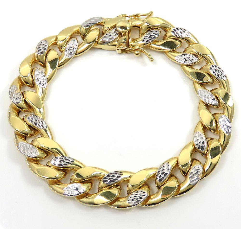 10k yellow gold one sided diamond cut two tone cuban bracelet 9