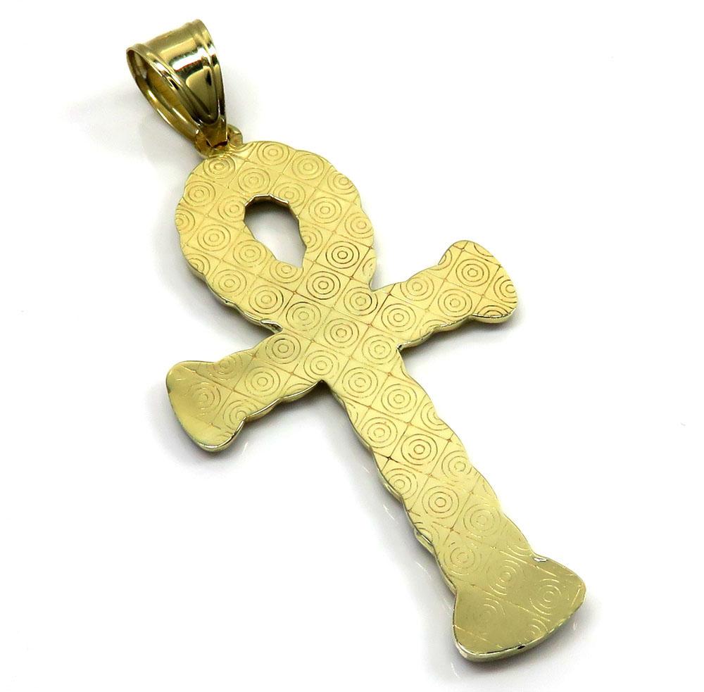 10k yellow gold hollow diamond cut cuban ankh cross