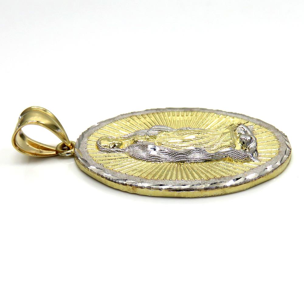 10k two tone gold diamond cut virgin mary oval pendant