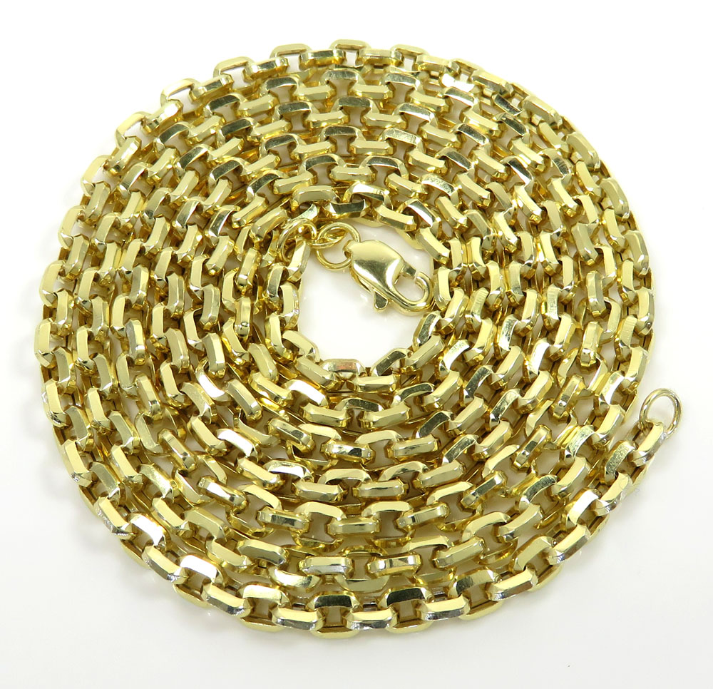 10k yellow gold hollow beveled edge cable chain 30 inches 3.80mm