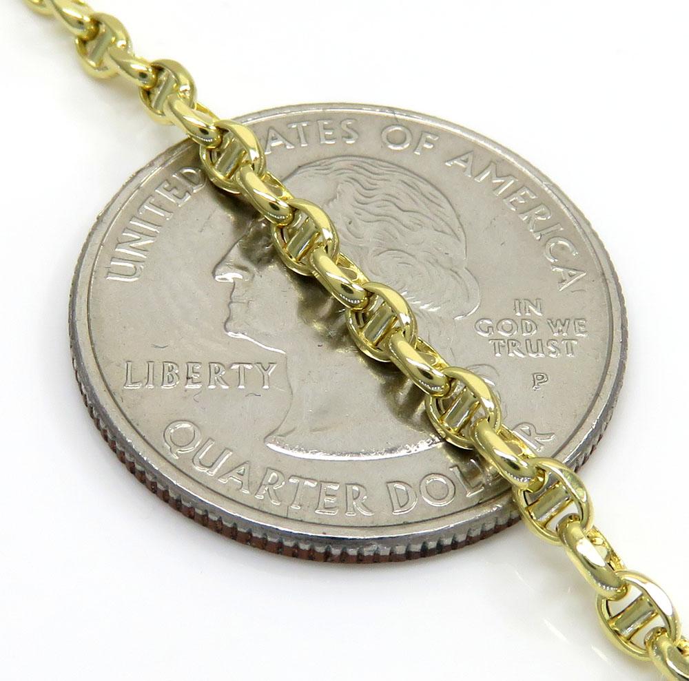 10k yellow gold skinny hollow puffed mariner chain 18-24 inch 3.00mm