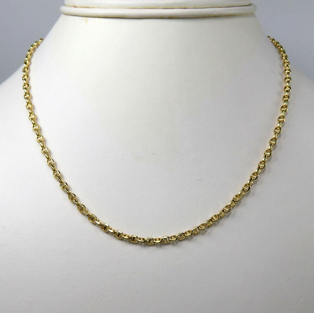 10k yellow gold skinny hollow puffed mariner chain 20-24 inch 3mm