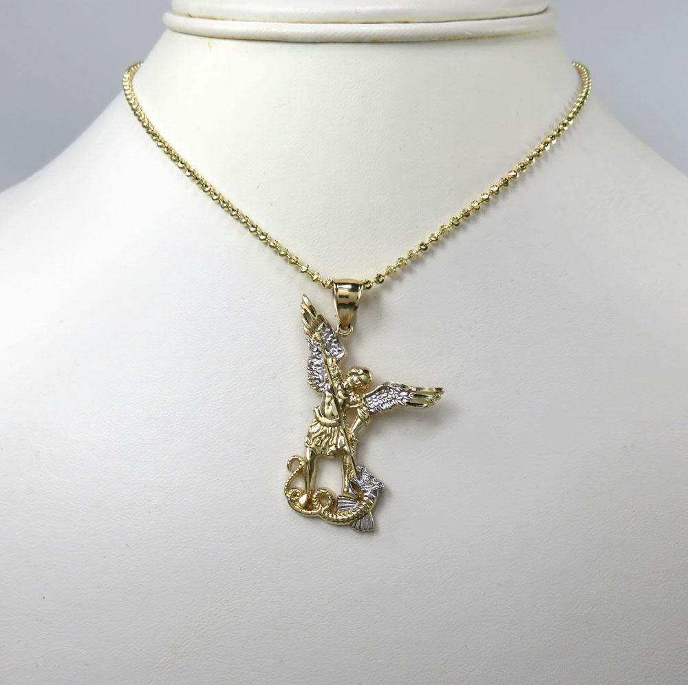 14k yellow gold small saint michaels pendant