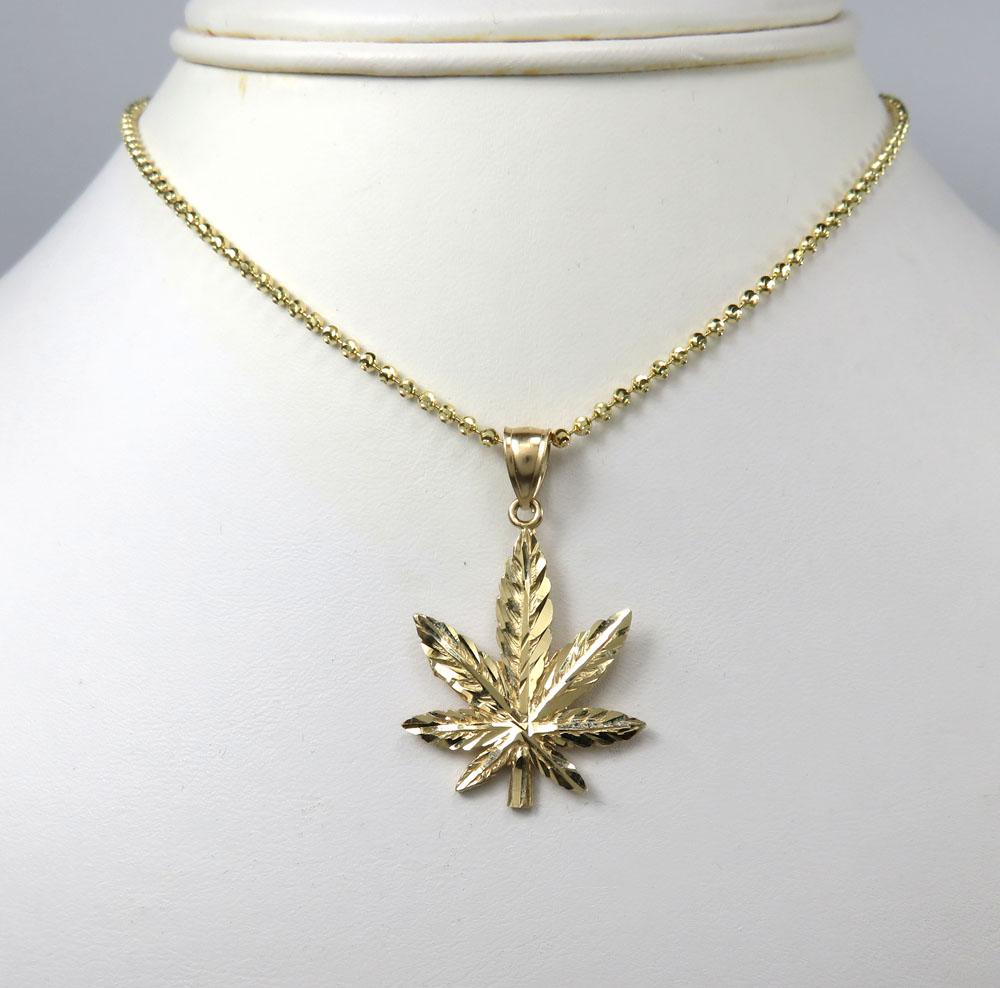14k yellow gold small marijuana leaf pendant