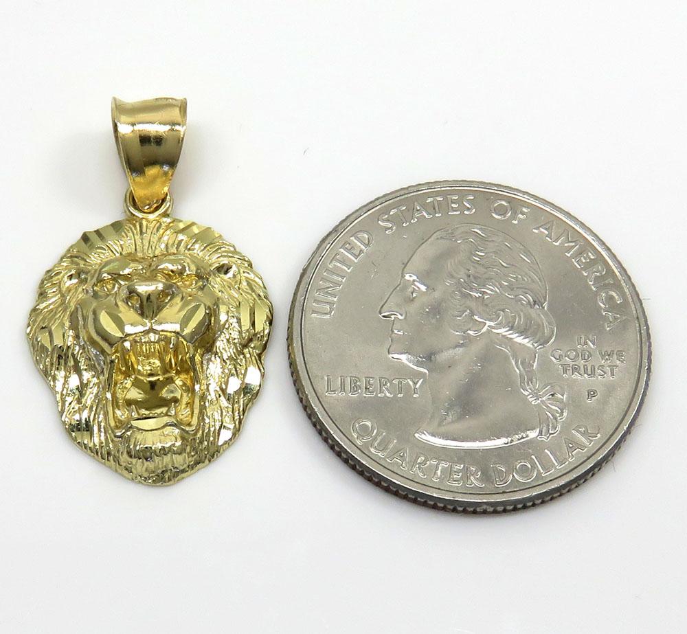 14k yellow gold mini 3d lion head pendant