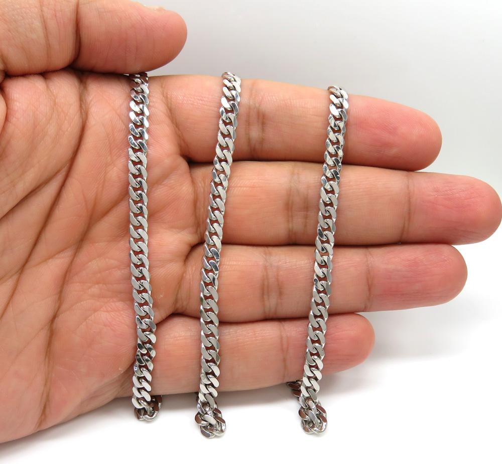 10k white gold solid miami chain 24-26