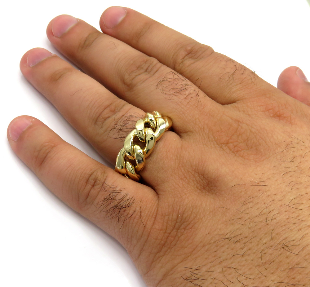 10k yellow gold 11mm hollow cuban link ring