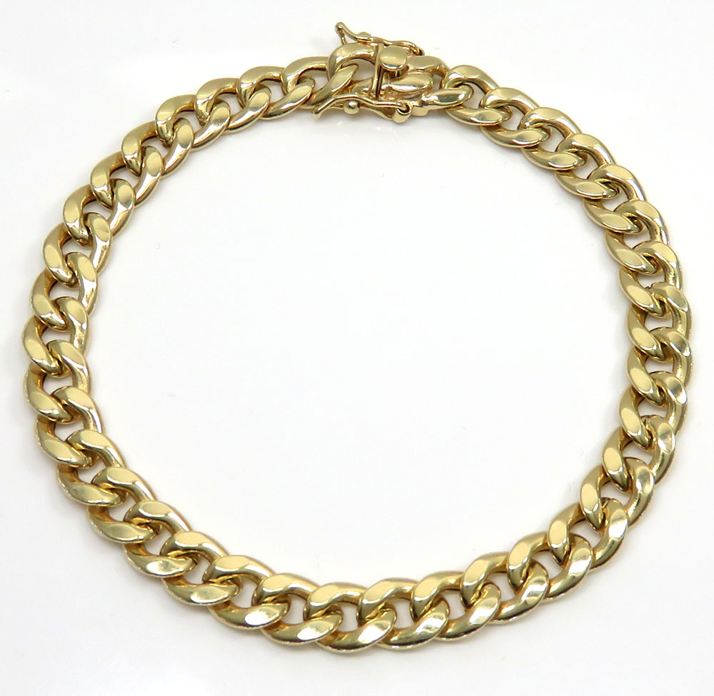 10k yellow gold medium hollow puffed miami bracelet 9.25 inch 8.20mm