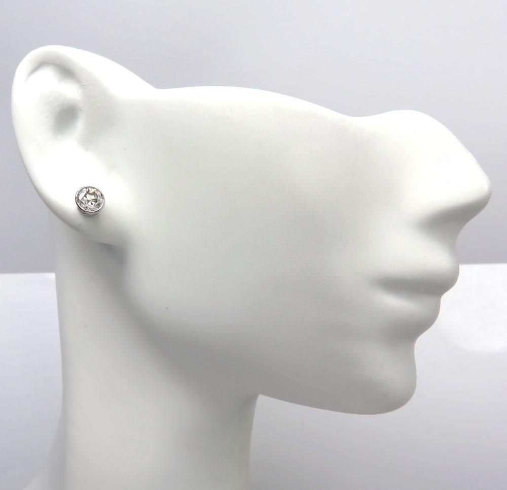 14k white gold round si1 diamond bezel studs 0.80ct
