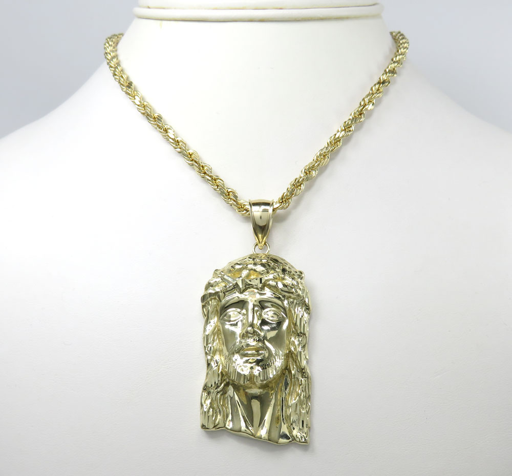 10k solid yellow gold xl classic jesus face pendant