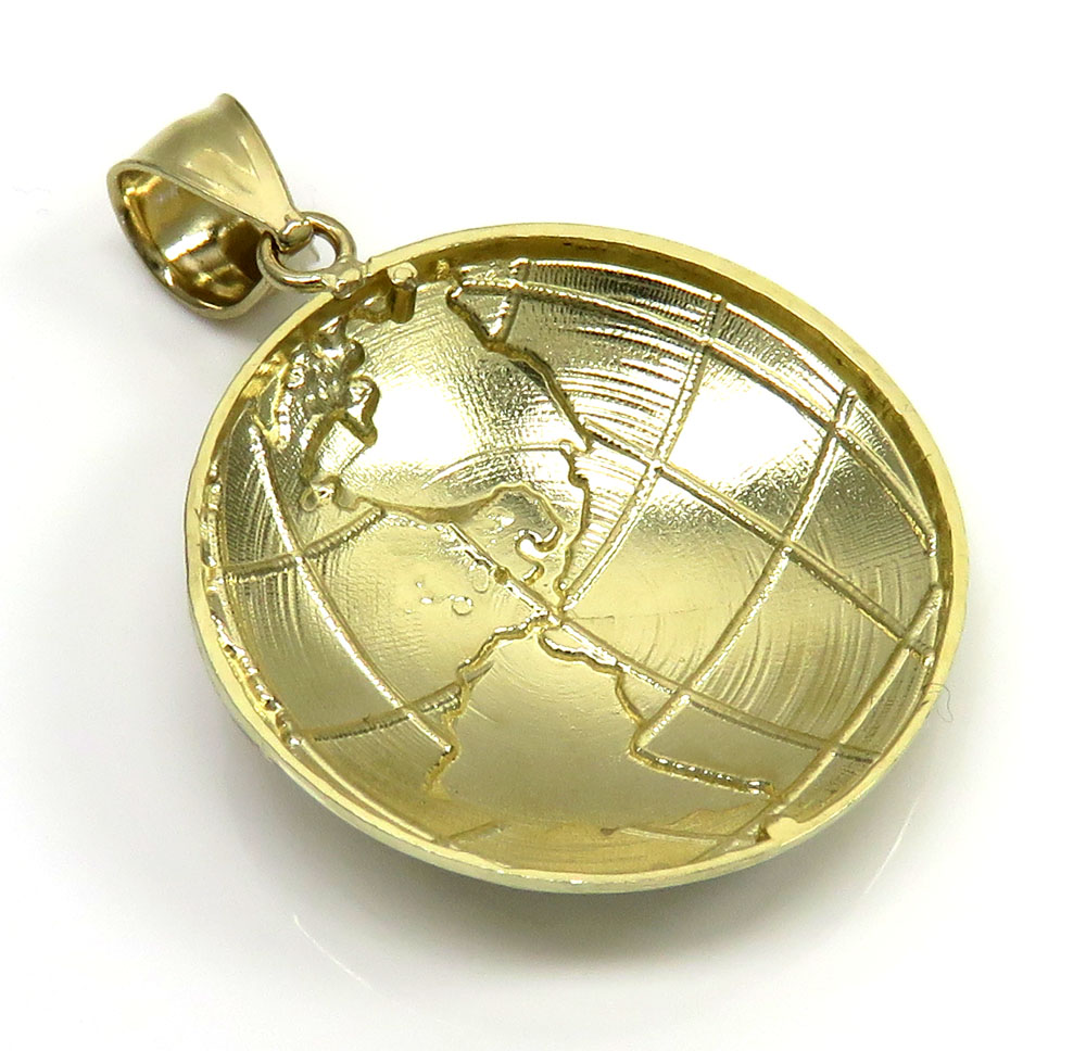 10k two tone gold small world pendant