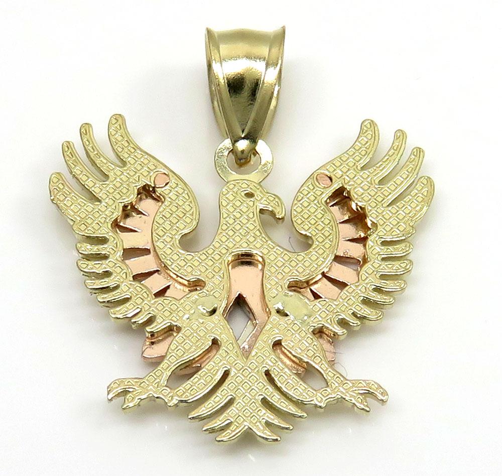 10k tri color gold small diamond cut albanian eagle pendant