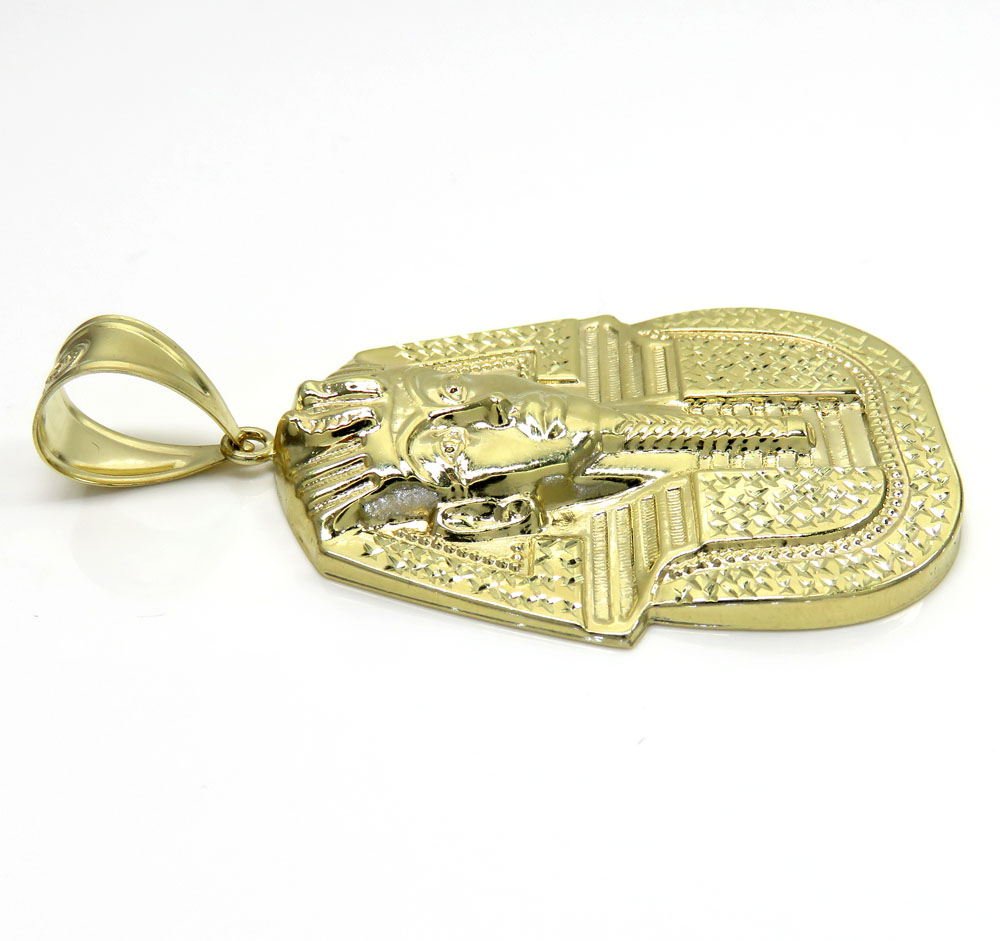 10k yellow gold medium king tut pharaoh head pendant