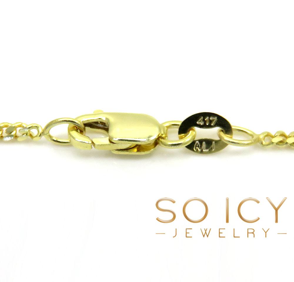 10k yellow gold solid super skinny miami chain 24 inch 1.5mm