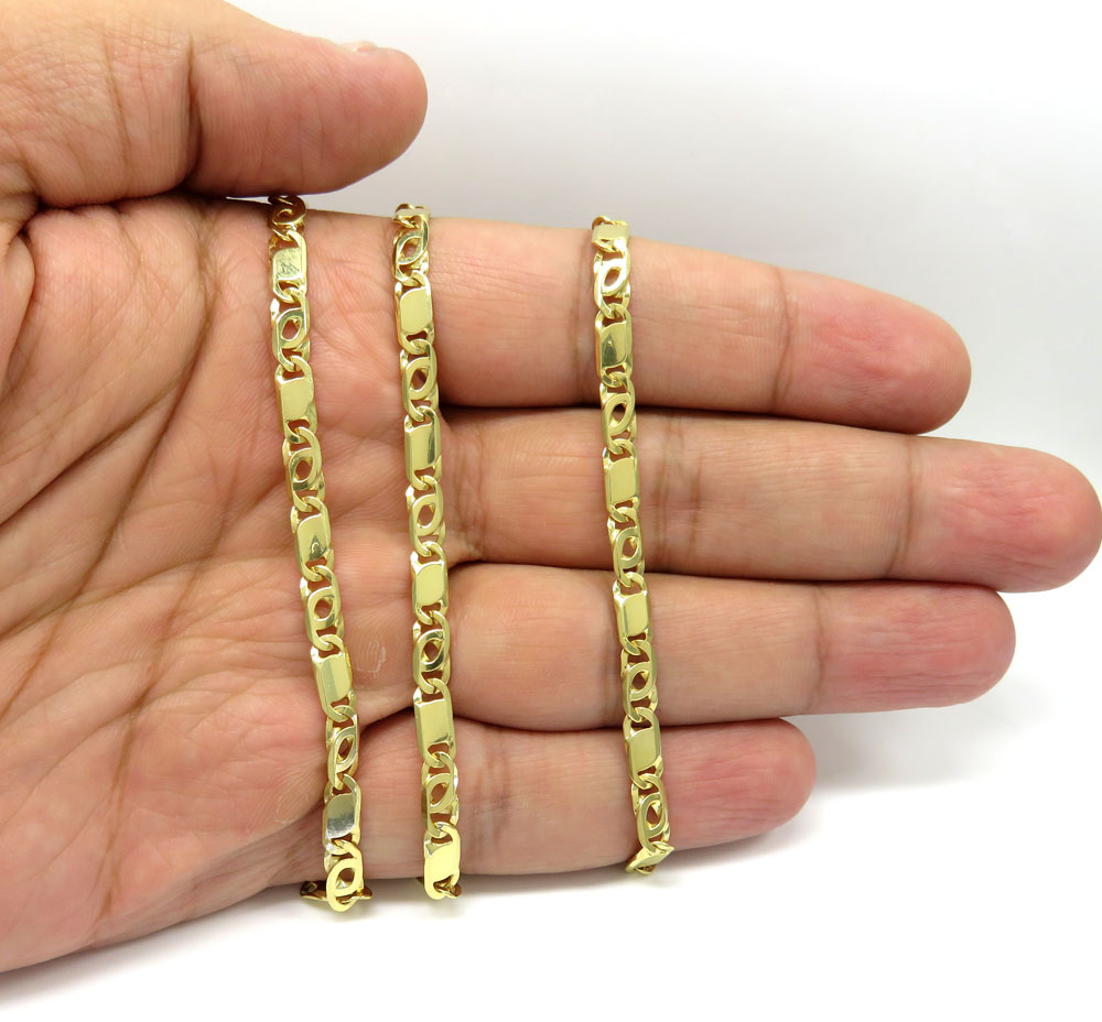 14k yellow gold solid tiger eye link chain 24 inch 4.50mm