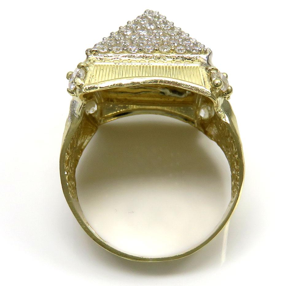 10k two tone gold greek design cz pyramid ring 1.80ct