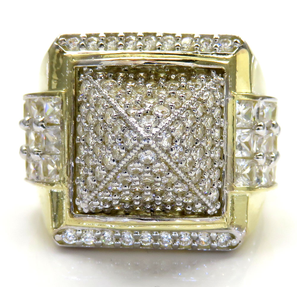 10k yellow gold princess cut cz pyramid ring 7.00ct