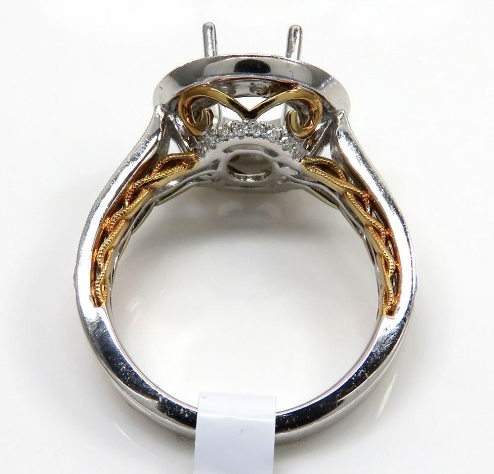 18k two tone gold round diamond halo semi mount ring 1.45ct