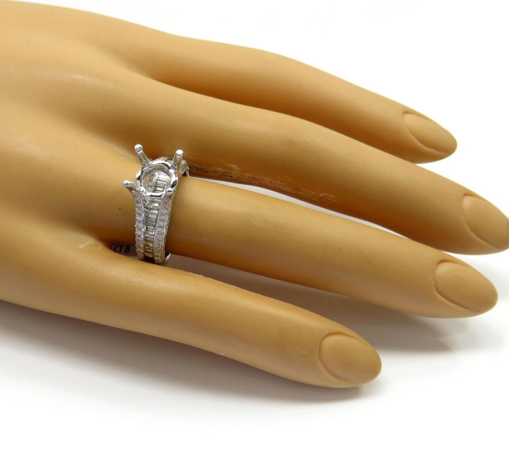 18k white gold round & baguette diamond semi mount ring 1.47ct