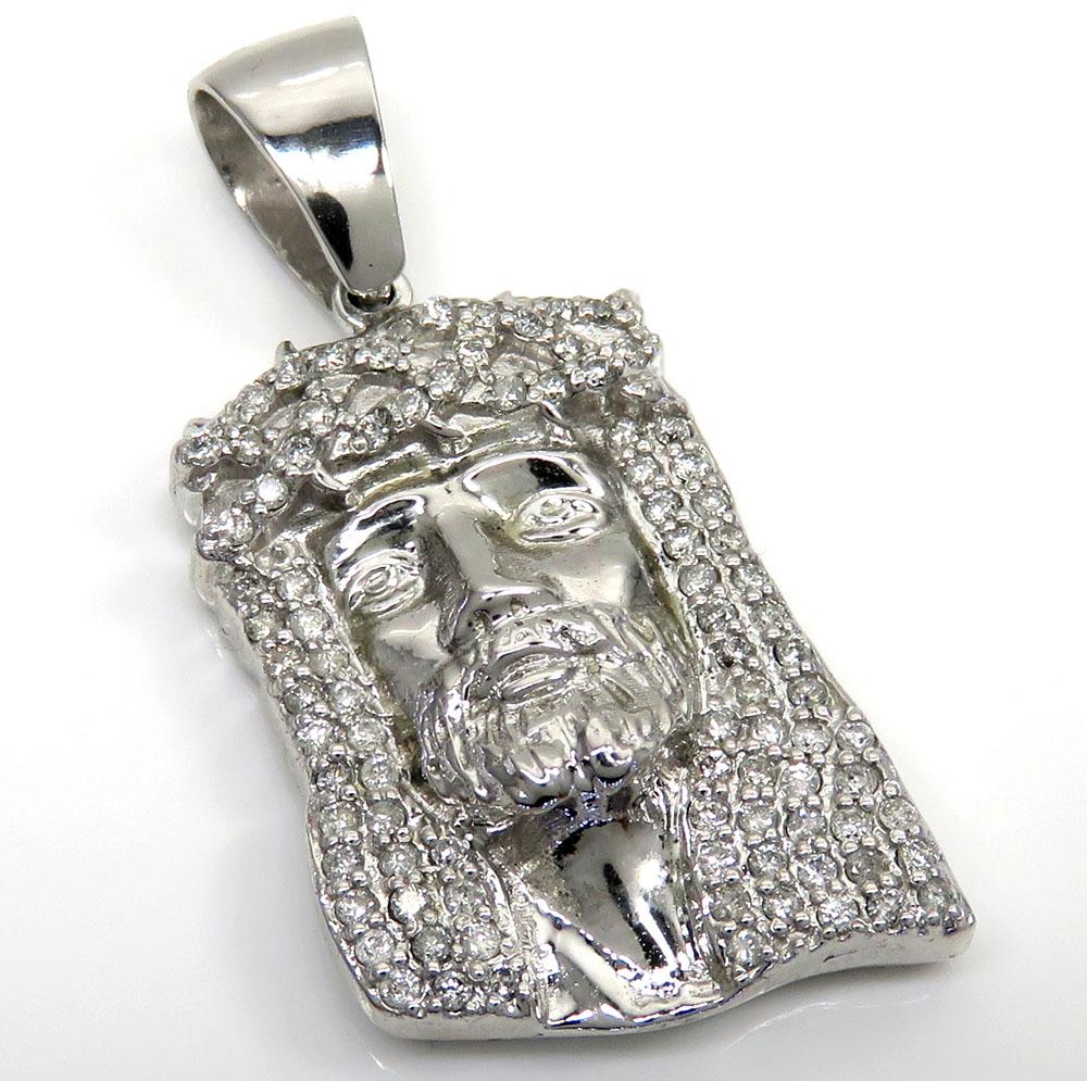 14k yellow, rose or white gold medium diamond jesus pendant 1.50ct