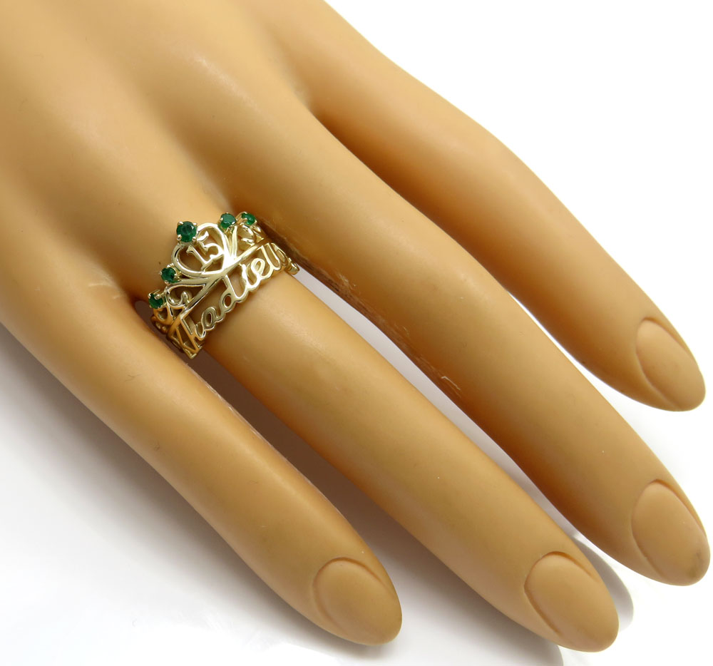 14k yellow gold custom name emerald ring 0.15ct