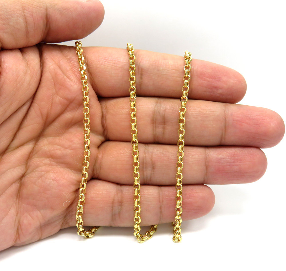 14k yellow gold solid circle link chain 22-30 inch 3.5mm