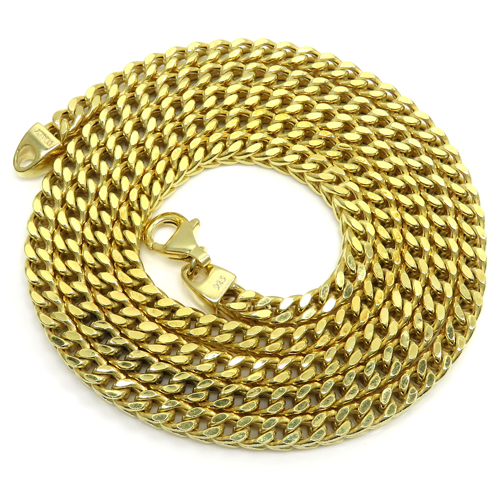 925 yellow sterling silver franco link chain 24-30 inch 4.2mm