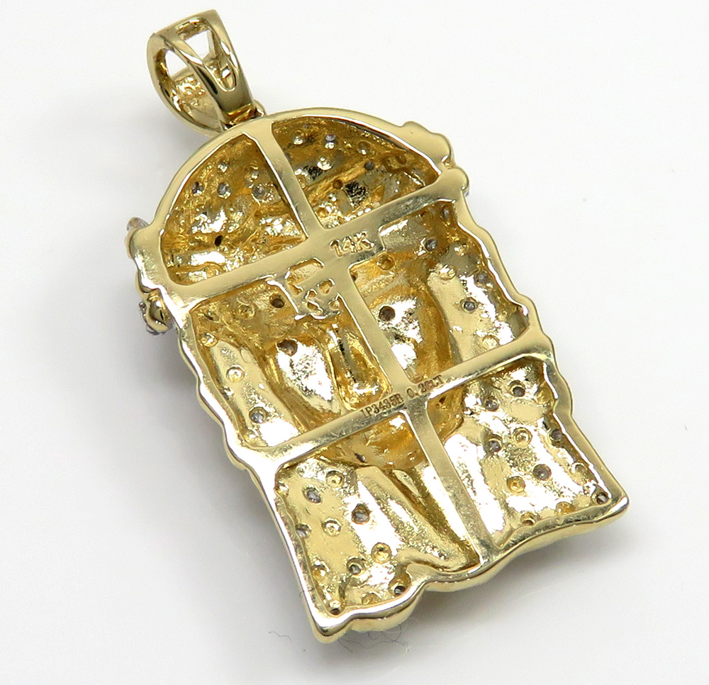 14k yellow gold diamond jesus face pendant 0.20ct