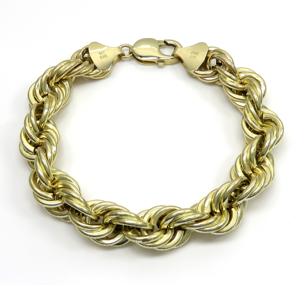 10k yellow gold hollow smooth xl rope bracelet 9