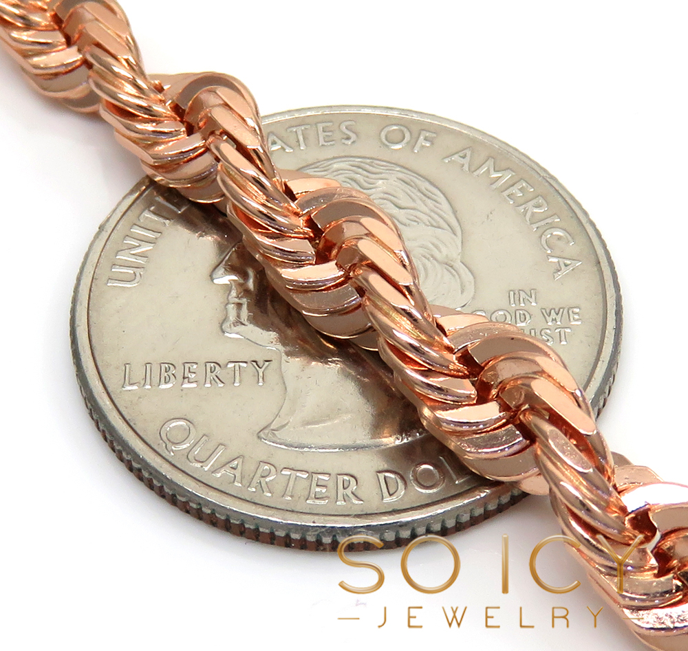 14k rose gold solid diamond cut rope chain 24-26 inches 5mm