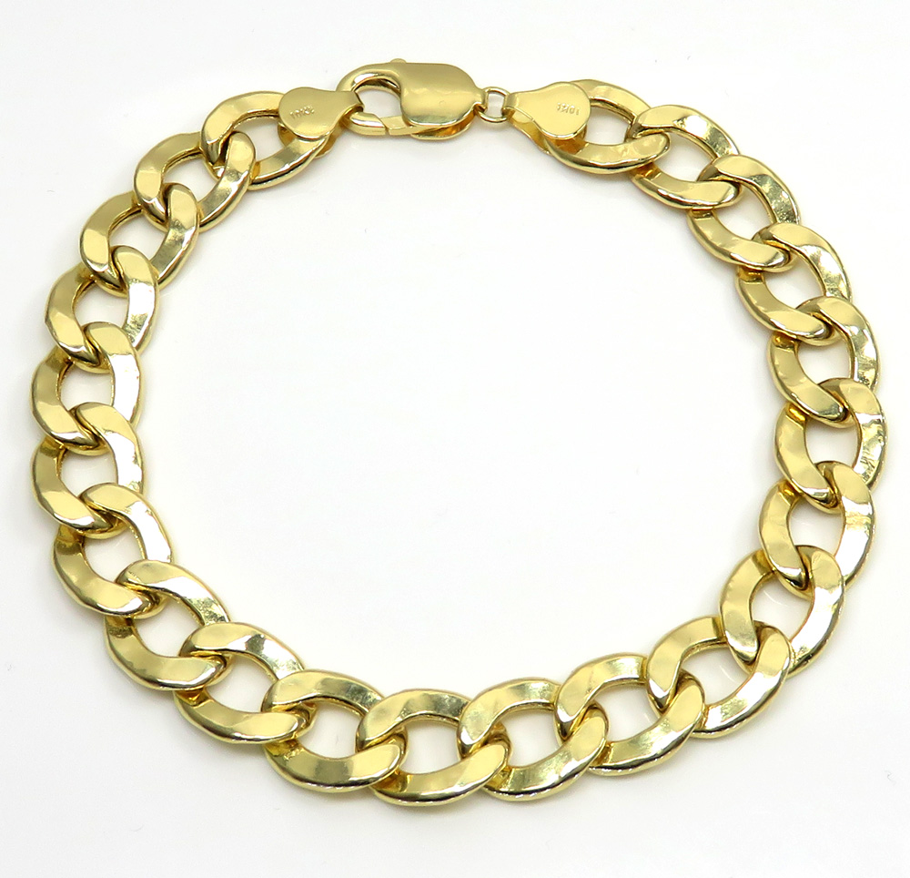 10k yellow gold hollow cuban bracelet 9 inch 11mm