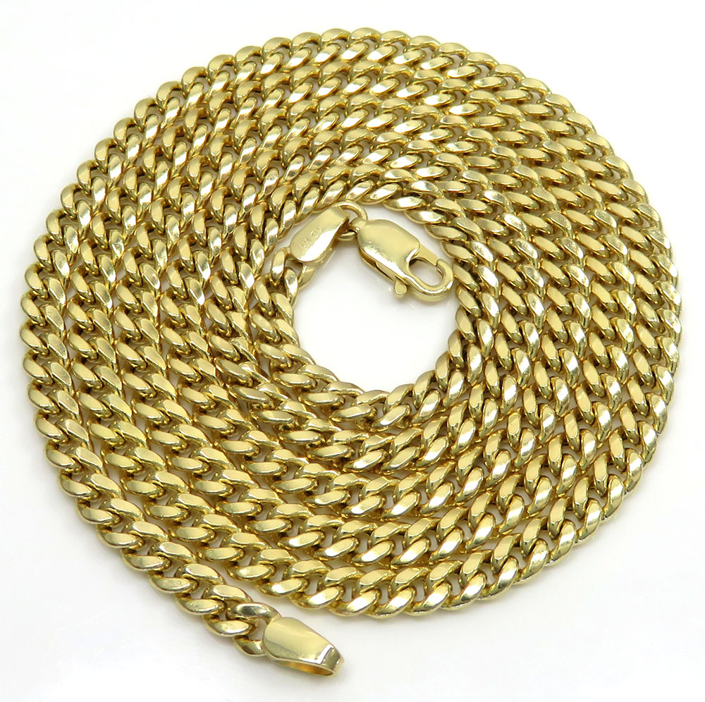 10k yellow gold hollow puffed miami chain 22-26 inch 3.70mm