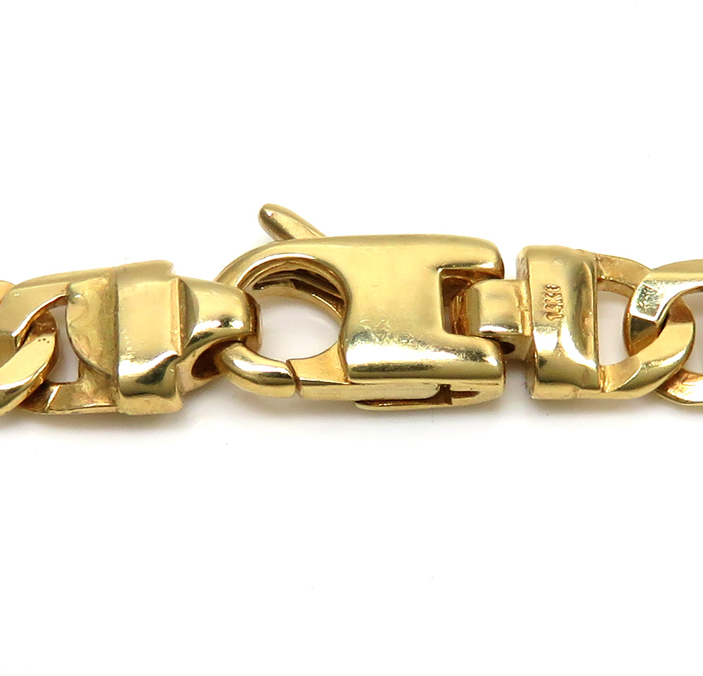 14k yellow gold solid tiger eye link chain 24-26 inches 6mm