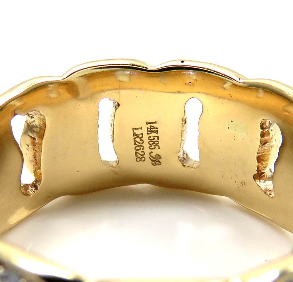 14k yellow gold solid fully iced diamond cuban ring 1.61ct
